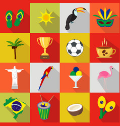 Brazil set of cartoon flat icons vector