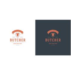 Butcher shop logo cow head vector