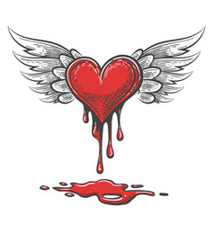 Cartoon bleeding heart with wings vector