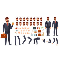 cartoon businessman character kit business vector image