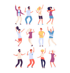 cartoon dancing people happy persons dance vector image