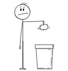 Cartoon of man holding an apple and ready vector