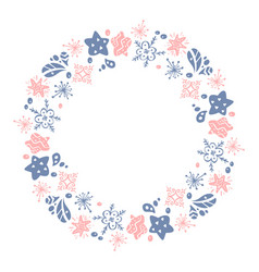 Christmas hand drawn wreath pink and blue floral vector