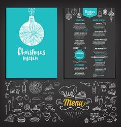 Christmas party invitation restaurant Food flyer vector