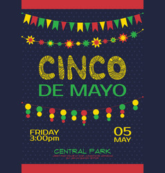 Cinco de mayo invitation poster mexican party vector