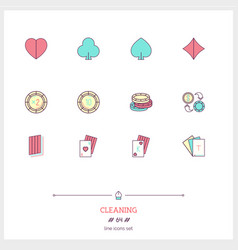color line icon set of poker casino objects and vector image