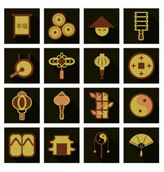 Concept of flat icons in chinese style and vector