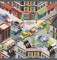 Crossroad accident injury trouble urban cars vector