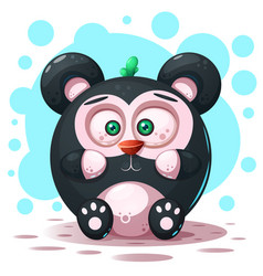 cute funny - cartoon panda character vector image