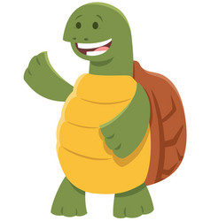 cute turtle or tortoise comic animal character vector image