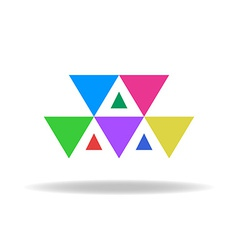 Design logo of the colorful triangles vector image