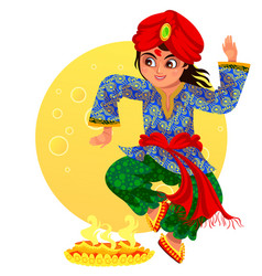 Diwali holiday and boy showing ritula dance vector