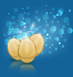 Easter card with golden eggs vector image