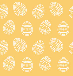 endless pattern decorated eggs on amber backdrop vector image