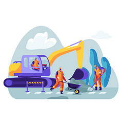 Excavator dig hole in ground male workers vector