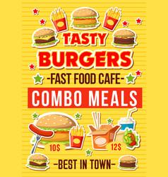 Fastfood burgers restaurant menu vector
