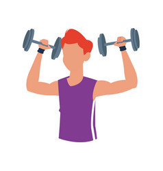 fitness man dumbbell body gym vector image