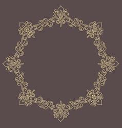 floral modern round golden frame vector image