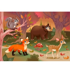 funny animals in wood vector image