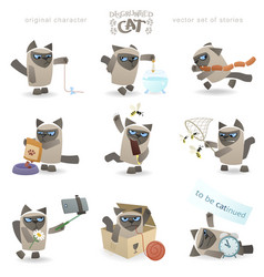Funny disgruntled cat vector