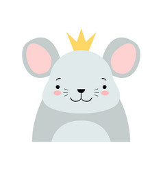 funny grey mouse in golden crown cute cartoon vector image