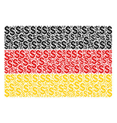 Germany flag collage of dollar items vector