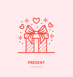 gift in box flat line icon souvenir vector image