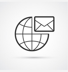 globe mail flat line trendy black icon eps10 vector image