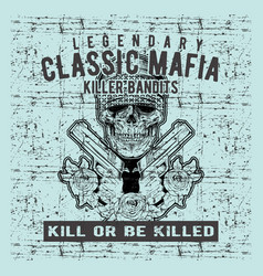 grunge style vintage skull mafia holding gun hand vector image