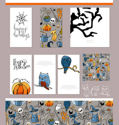 Halloween symbols on visit cards and posters vector