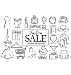 Hand drawn fashion online shop icons set vector