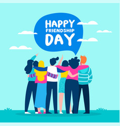 happy friendship day card of friend group vector image