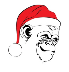 head evil monkey in Santa hats vector image