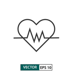 heartbeat icon outline style isolated on white vector image