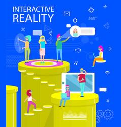 interactive reality abstract virtual world poster vector image