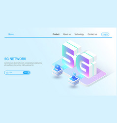 isometric 5g mobile network wireless systems and vector image