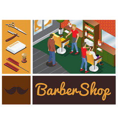 isometric barber shop composition vector image