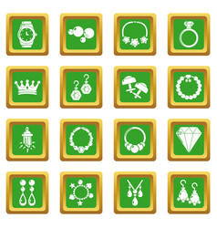 Jewelry shop icons set green square vector