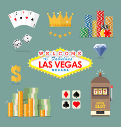 las vegas icon set vector image