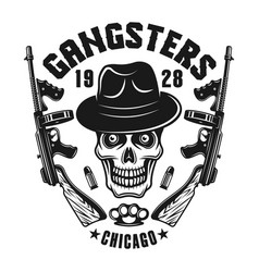 Mafia emblem gangster skull in hat with two guns vector