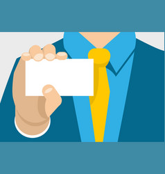 Man in suit holding a business card vector