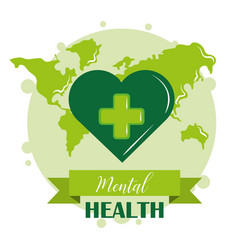 Mental health day green heart world awareness vector