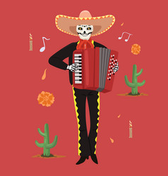 Mexican musician skeleton plays accordion vector