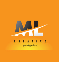 Ml m l letter modern logo design with yellow vector