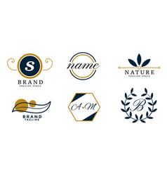 nature style wedding monogram logos set design vector image