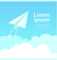 paper plane in sky over clouds at blue copy space vector image