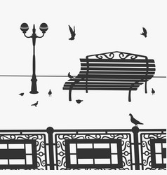 Park bench and pigeons vector