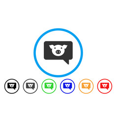 Pig message rounded icon vector