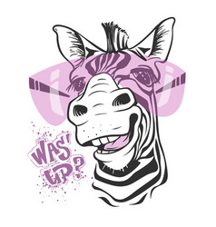 Print with zebra images and text t-shirt design vector