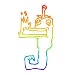 Rainbow gradient line drawing cartoon red hot vector